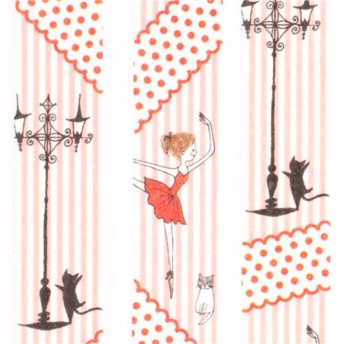 white red pink ballerina Washi Masking Tape deco tape Shinzi Katoh Japan