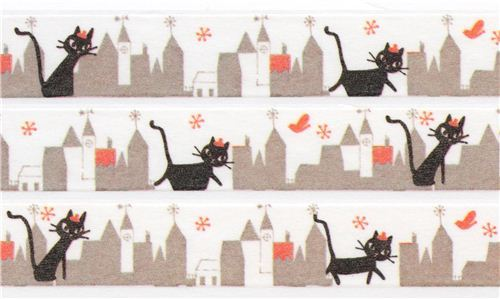 white taupe town cat Washi Masking Tape deco tape Shinzi Katoh Japan