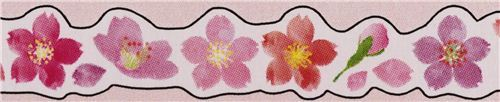 thin die-cut white cherry blossom flower Masking Tape deco tape from Japan