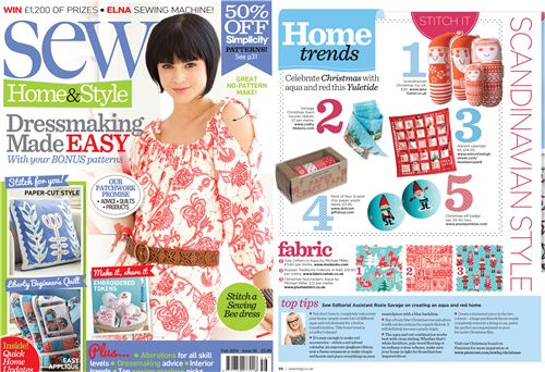 Our Michael Miller Yule Critters fabric was featured in Sew Magazine January 2014