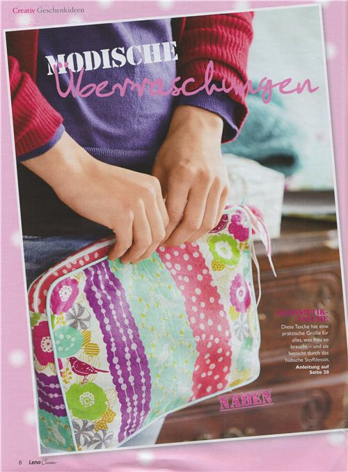 Lena Creativ used our echino fabrics for this cosmetic case