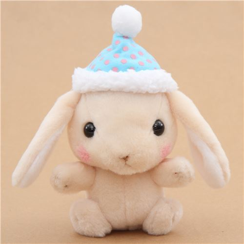 beige bunny rabbit with blue cap Poteusa Loppy plush toy from Japan