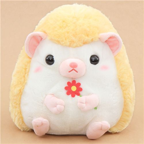 big light cream yellow hedgehog Harin the Hedeghog plush toy Japan
