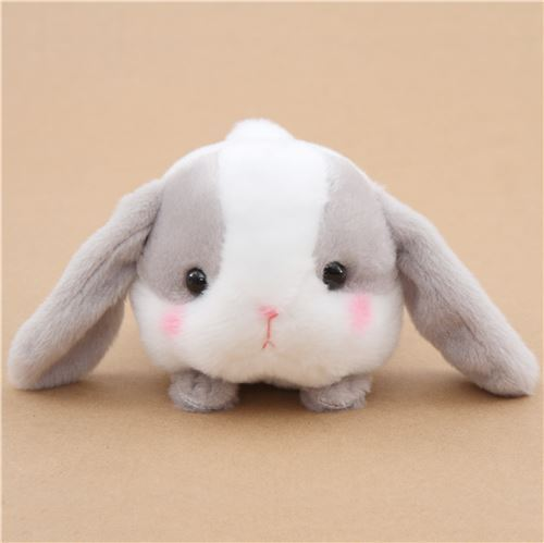 kawaii white and grey bunny rabbit Poteusa Loppy plush toy from Japan