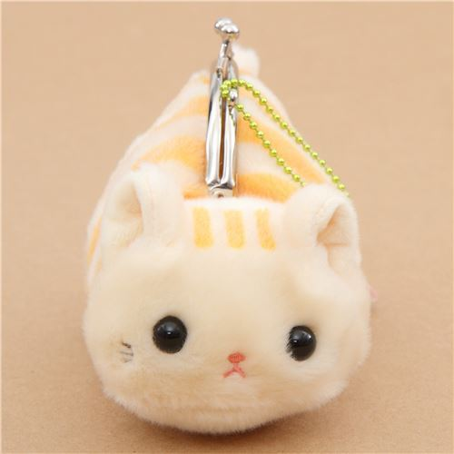 soft cute beige orange stripe cat plush Tsuchineko purse wallet from Japan