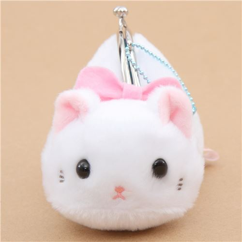 soft cute white cat plush Tsuchineko purse wallet from Japan