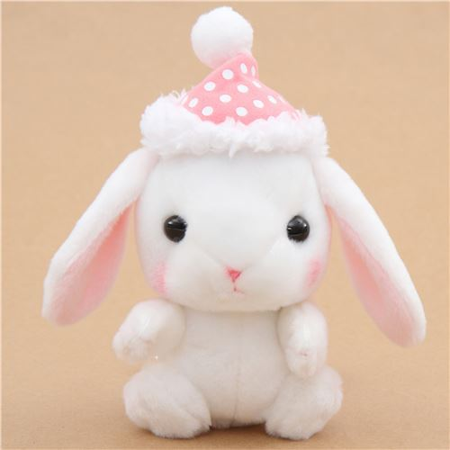 white bunny rabbit with pink cap Poteusa Loppy plush toy from Japan