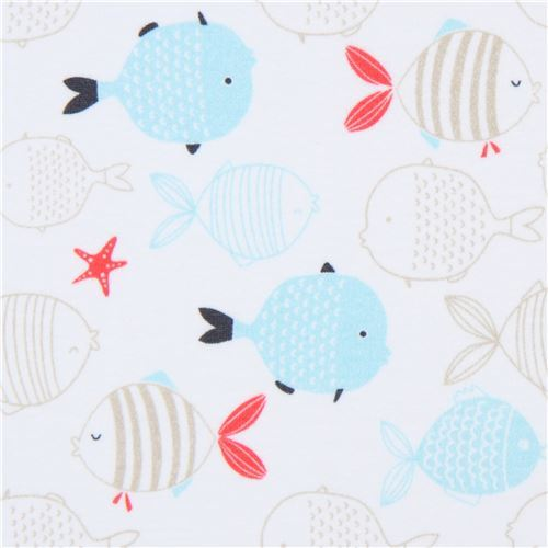 white knit fabric by Stof Fabrics with fish