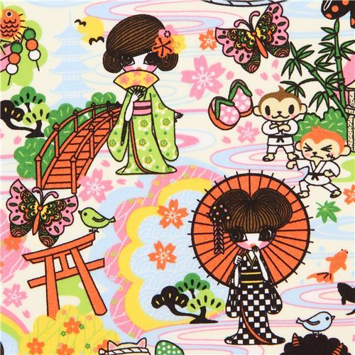 kawaii Japanese Anime Kimono Geisha fabric from the USA