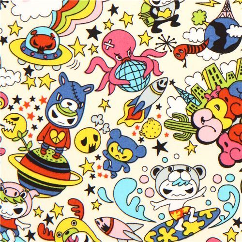 kawaii Japanese Anime Space Surfer fabric from the USA