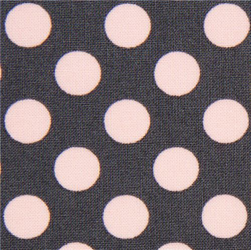 grey Michael Miller fabric pink polka dots