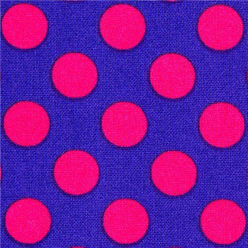 purple Michael Miller fabric pink polka dots