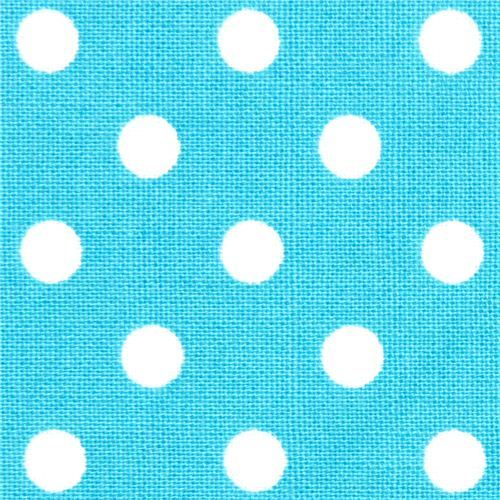 teal Michael Miller fabric small white polka dots