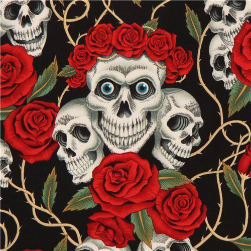 black Alexander Henry fabric roses and white skulls