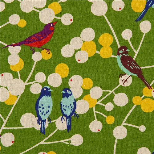 green echino birds and berries canvas fabric cherry