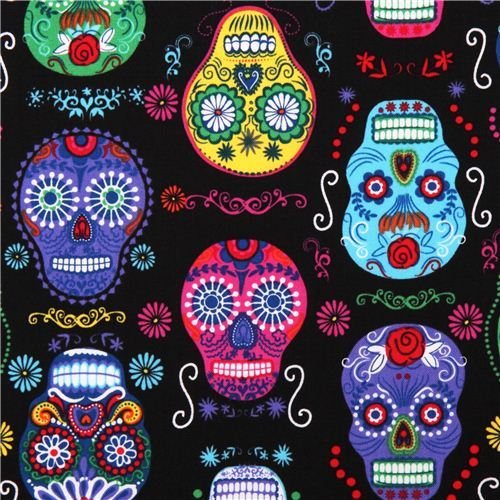 black Folk Art skull fabric by Timeless Treasures