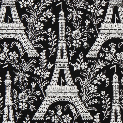 black Michael Miller premium laminate fabric Eiffel Tower