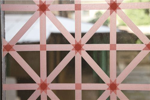 elaborate window decoration with mt tapes
