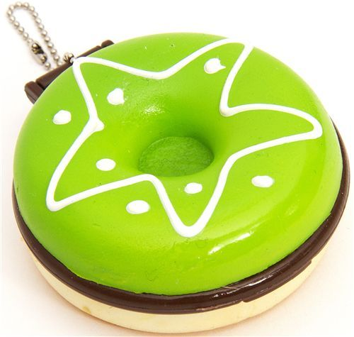 big green donut squishy charm with pocket mirror