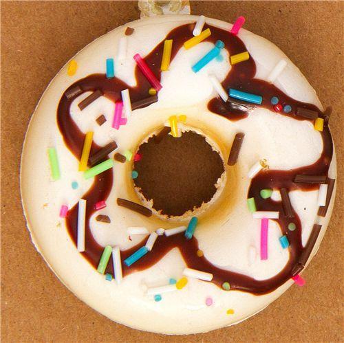 white donut squishy charm with chocolate sauce