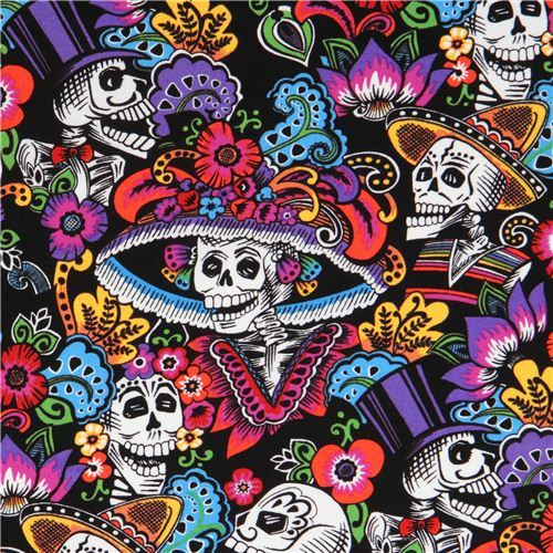 black Mexican skeleton and skull fabric by Alexander Henry