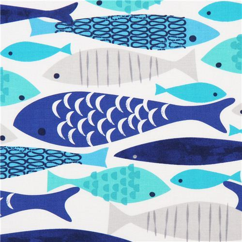 white fish fabric Mod Fish by Michael Miller USA