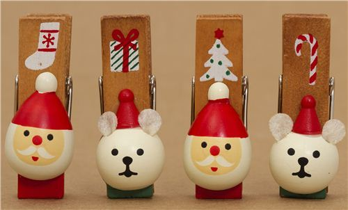 cute Christmas card holder clip set 4pcs from Japan