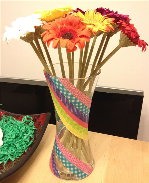 A whole new vase design made with a couple of stripes of Washi Tape